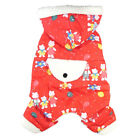 639 L~4L Red Bear Pattern Hooded Overall Jumpsuit Bodysuit /Dog Clothes