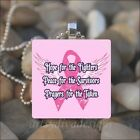 BREAST CANCER AWARENESS ANGEL WINGS PINK RIBBON GLASS PENDANT NECKLACE KEYRING