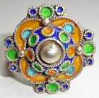 Larger SILVER & Colored Enamel Moroccan Berber Ethnic Tribal RING 2- Hand Made