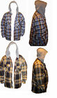 NEW HOODY FLEECED  FUR LINED HOODED LUMBERJACK SHIRT S M L XL XXL THERMAL ZIP UP