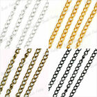 DIY Silver Gold Black Antique Brass Curb Unfinished Chain Wholesale Fit bracelet