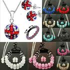 BRACELET EARRINGS NECKLACE SET SHAMBALLA CZECH CRYSTAL STUD BALL LADIES MENS NEW