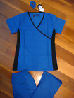 Fior Stretch Stylish Nursing Scrubs Set Royal Side Black Spandex XS S M L XL 2XL