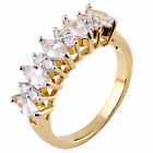 Marquise/Round Cubic Zirconia Alternate Gold EP Brass Stackable Guard Ring