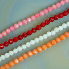 """Faceted 3mm Coral gemstone Round Beads 15.5"""" Pick Color"""