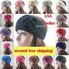 Free shipping Crochet Headband Hair Band Knitted Flower Button UNIQUE Headwrap