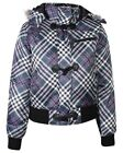Womens Designer Checked Bomber Jacket Brave Soul Ladies Hoody Winter Check Coat