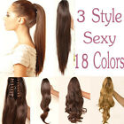 """18""""or 21"""" Real as Ponytail Hairpiece Hair Extension Extra Long Claw Clip in Wavy"""