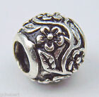 Forget Me Not Flower Large Hole European Bead Silver Plate Bajul