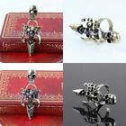 Punk Rock Cool Tibetan Silver/Bronze Skull Skeleton Head Adjustable Finger Rings