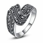 Elegant Black Marcasite Crystal pave Band Ring 18k White Gold Plated Hot R254