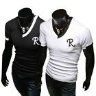 Black /White Sports Causal Shirts Mens Slim Fit Short Sleeve V Neck T shirts TOP