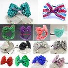 Girl's Fashion Bow Headband Hair Crystal Dancing Party Kids Bag Clip glitter