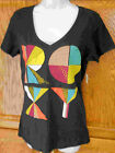 ROXY~ BLACK SELF LOGO PINDOT RAINBOW V-NECK BLACK T-SHIRT TOP NEW A