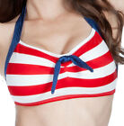 FABLES By BARRIE Blue/Red/White SKIPPER Swimsuit Bikini Top Anchor Button XS-2X