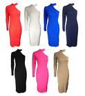 NEW WOMENS POLO TURTLE NECK ONE SLEEVE CUT OUT JERSEY MIDI DRESS 8-14