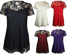 NEW LADIES PLUS SIZE SHORT SLEEVE TOP WOMENS STRETCH FIT LACE FLORAL DRESS 14-28