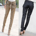 Women's Chic Harem Long Pants OL Skinny Casual Bow-knot Pencil Trousers S M L Z