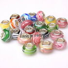 Wholesale Colors Stripes Handmade Lampwork Spacer Beads Fit Charms Bracelet Lots