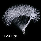 120 Tip Nail Art Design Acrylic Polish Fan Board Display Practice Sticks Wheel