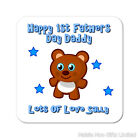 Personalised Happy 1st First Fathers Day Daddy Wooden Coaster Mat Gift Pink Blue