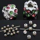 Wholesale Crystal Rhinestone Dot Wavy Tube Silver European Charms Beads Findings