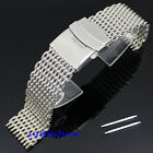 New Fashion 20 22 mm Stainless Steel Watch Mesh Band Bracelet Strap Double Clasp