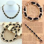1Pc Golden Black Chunky Statement Thick Link Curb Chain Necklace Bracelet Bangle