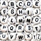 acrylic alphabet beads, 7 mm, white, flat round, single letter A - Z & mixed