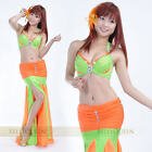 6 color rhinestone Bra with Fishtail Skirt 2pcs set Belly Dance Costumes