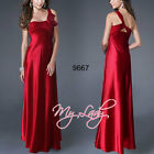 Sexy Red One Shoulder Satin Evening Bridesmaid Cocktail Prom Party Maxi Dress