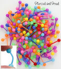 FLEXI PLASTIC / ACRYLIC TONGUE BAR / STUD + BRIGHT NEON COLOURED BAR & BALLS