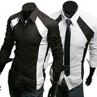 Sexy Men's Casual Slim Fit Basic Tops Black/White Patched Dress Shirts in S~XL