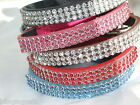 Cat Collar Leather Diamante rhinestone kitten safety elastic Bling stones bell