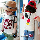 2015 Summer Baby Toddlers Kids Girls Boys Hands Mouse Short Sleeve T-Shirt 2-7Y