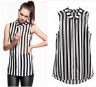 Women Summer Chiffon Stripe Zebra T-shirt Blouse Sleeveless Tank Top White Black