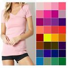 V NECK T Shirt ZENANA Short Sleeve BASIC Stretch Cotton WHIMSY S/M/L  FREE SHIP