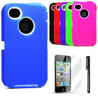 NEW Hybrid Rugged Defender IMPACT Case for Apple iPhone 4 4S +Stylus & Screen
