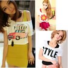 Lovely Girls Women Street Cotton Short Sleeve Loose T-shirt Small blouses Tops