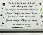 Wall Sticker Art Quotes Smile Life Goes On Vinyl Wall Decal Home Diy Wall Decor