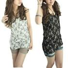 Womens Sexy Sleeveless Lace Long Vest Tank Tops Racer Back Korean Fashion
