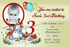 Personalised Birthday Party Invites Vintage Rabbit 1st 2nd 3rd 4th 5th 6th B21
