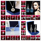 Genuine 18K White Gold CZ Crystal Lovely Pendant Silver Necklace Ladies Box925