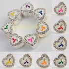 Ribbons Awareness White Crystal Rhinestone Heart Loose Beads Fit Charms Bracelet