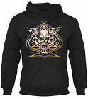 ROCK,GOTH,BIKER,TATTOO,ACE OF SPADES TRIBAL SKULL,HOODY,HOODIE 3XL-4XL-5XL