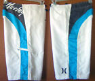 Hurley Blue Inset Distressed Name Stripe Embroidered Logo White Board Shorts RC