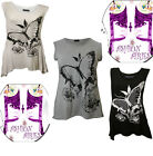 NEW WOMENS FLORAL BUTTERFLY PRINT LADIES SLEEVELESS VEST PLUS SIZE TOPS 18-28