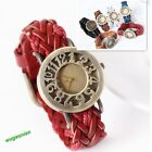 2013Style Lady Hollow Out Retro Leather Band Large Round Dial Women Quartz Watch