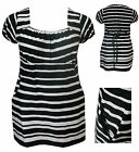 NEW LADIES PLUS SIZE BLACK WHITE STRIPE SHORT SLEEVE WOMENS TUNIC LONG TOP DRESS
