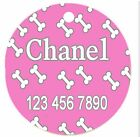 Personalized Custom Pet Dog Cat Tag ID So cute Pink dog bones Any name Text